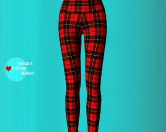 Red Plaid Tartan YOGA PANTS Sexy Print Leggings WOMENS Sexy Leggings Sexy Womens Leggings Sexy Yoga Pants Sexy Yoga Leggings Print Leggings