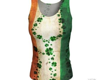 CLOVER Shamrock Irish Flag Shirt ST PATTYS Day Tank Top Crossfit Tank Top for Womens Tank Top Womens Yoga Top St Patties Day Tank Top Shirt