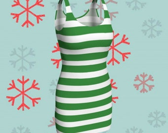 Green and White Striped CHRISTMAS DRESS Womens Elf Dress Bodycon Dress Holiday Dresses Party Dress Christmas Outfit Body Con Dresses Womens