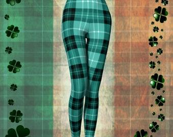 Green Tartan PLAID LEGGINGS WOMENS Yoga Pants Sexy Print Leggings Sexy Womens Yoga Pants Sexy Womens Leggings Clothing Tartan Paid Leggings