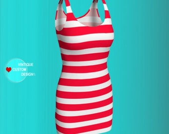 Red and White Striped Valentines Day DRESS Womens Candy Stripe Bodycon Dress Holiday Dresses Party Dress Valentine Outfit Body Con Dresses