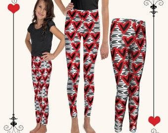 VALENTINE'S Leggings GIRLS Heart LEGGINGS Red and White Heart Tights Girls Leggings Girls Baby Leggings Toddler Leggings Valentine's Gift