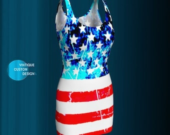 BODYCON DRESS Womens USA American Flag Dress for Fourth of July Womens Dress Flare Dress Red White and Blue Body Con Dress Independence Day