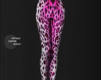 CHEETAH LEGGINGS Animal Print Leggings WOMENS Pink Cheetah Print Leggings Printed Leggings Yoga Leggings Yoga Pants Cat Leggings Clothing