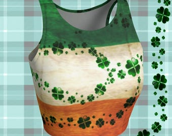 St Pattys Day Crop Top Shamrock Outfit CLOVER Crop Top for WOMENS Sexy Crop Top Saint Patricks Day TOP Green and Orange Irish Flag Clothing