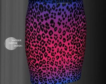 Cheetah SKIRT Women's Animal Print Designer Fashion Skirt Spring Clothing Pink and Purple Ombre Animal Print Skirt Cheetah Cat Print Skirt