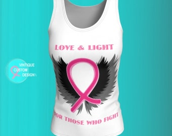 Pink Ribbon Breast Cancer Awareness and Support TANK TOP Womens Tank Top - Get Well Gift - Survivor Gift - Pink Ribbon Shirt for Women
