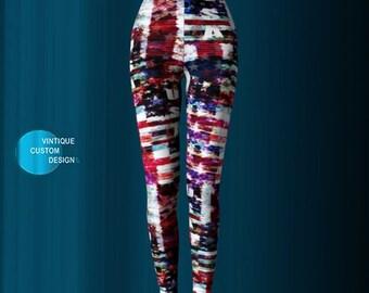 YOGA LEGGINGS - USA - American Flag - Red White and Blue Stars and Stripes Printed Leggings for Women - Womens Leggings - Fourth of July