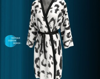 White Cheetah Print Long KIMONO ROBE Womens Kimono Robe PEIGNOIR Robe Animal Print Robe Sexy Gift for Wife Gift for Mom Gift for Her