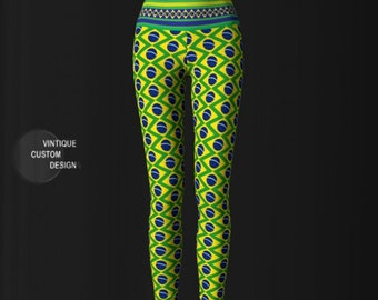 BRAZIL LEGGINGS Brasil Yoga Pants for Women Green Blue and Yellow Brazilian Flag Leggings Womens Yoga Leggings Brazilian Flag Print Leggings
