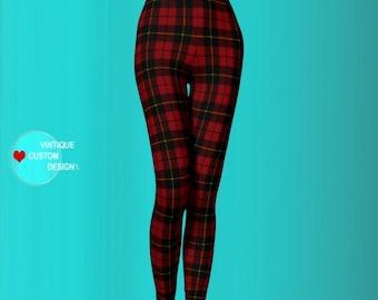 Tartan PLAID LEGGINGS Womens Leggings Yoga Leggings Womens Leggings Yoga Pants Printed Leggings Yoga Leggings Red + Black Gift for Her