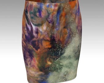 GALAXY SKIRT WOMENS Sexy Mini Skirt Sexy Print Skirt Galaxy Print Skit Fitted Skirt Flare Skirt Sexy Skirt Womens Clothing Glitter Skirt