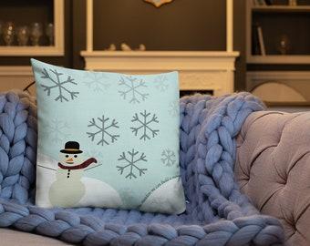 "SNOWMAN Christmas PILLOW Holiday Decorations Christmas Decor Winter Wonderland Snowflake Pillow Decorative Throw Pillow SNOWFLAKE 18"" x 18"""