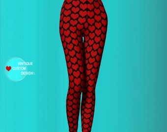 HEART LEGGINGS VALENTINES Day Sexy Print Leggings Sexy Yoga Pants Sexy Yoga Leggings Gifts for her Womens Sexy Leggings Red Heart Leggings