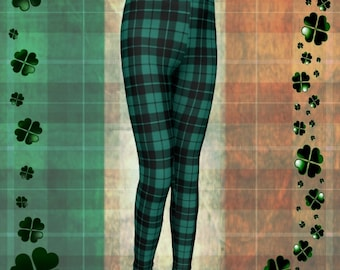 St. Patricks Day Plaid LEGGINGS Green Plaid Leggings Mommy and Me Outfit Matching Leggings Baby Leggings Toddle Leggings Kids Plaid Pants