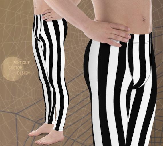 JAIL Leggings Mens Costume LEGGINGS HALLOWEEN Leggings Striped Jail Inmate Prisoner Leggings Jail Break Convict Leggings for Men Costume