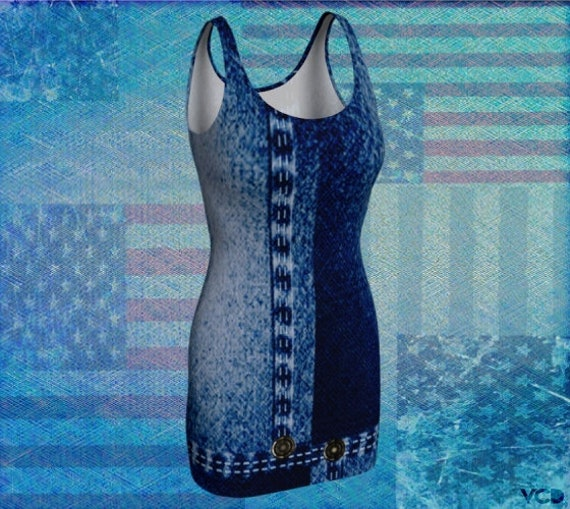 Denim Jean DRESS for Women Blue Jean Dress Women's Dresses Denim Dress Body-con Dress Women's Party Dress Fourth of July Memorial Day Dress