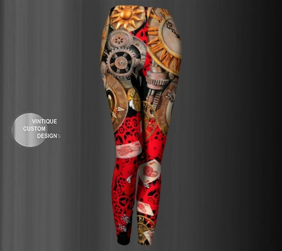 Steampunk LEGGINGS Womens Steam Punk YOGA PANTS Yoga Leggings Futuristic Clothing Post Apocalyptic Cyberpunk Leggings Printed Leggings Pants