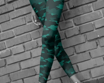 Green Camouflage Leggings for Women CAMOUFLAGE LEGGINGS WOMENS Army Leggings Printed Leggings Yoga Leggings Camouflage Pants Camo Yoga Pants
