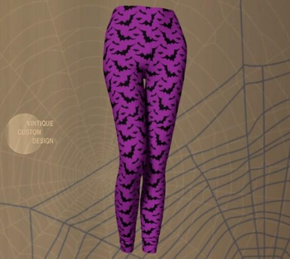 LEGGINGS Purple BAT Print HALLOWEEN Leggings Womens Fashion Leggings Printed Leggings Halloween Clothing for Women Bat Leggings Yoga Pants