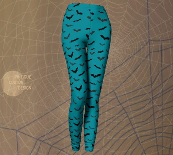 HALLOWEEN BAT LEGGINGS Womens Halloween Legging Yoga Leggings Yoga Pants Womens Teal Black Bat Print Leggings for Adults Costume Leggings