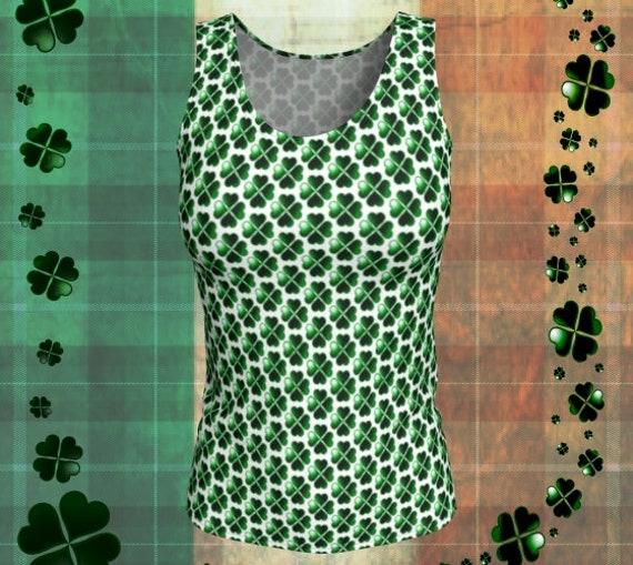 SHAMROCK Green & White CLOVER Pattern Tank TOP Sleeveless Shirt Womens Tank Top St. Patricks Day Top Four Leaf Clover Top St. Pattys Day Top