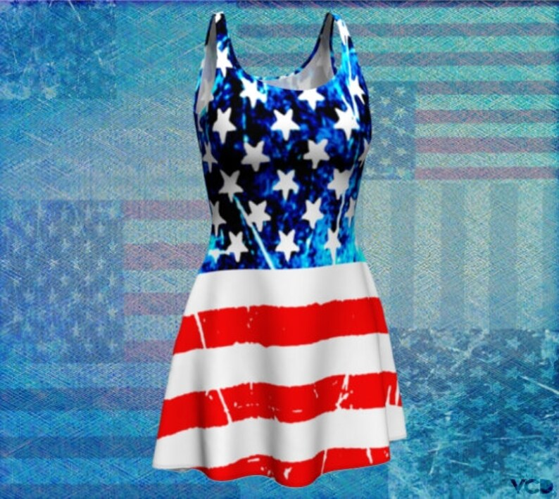 3d5f100fa3a5e American Flag Red White and Blue DRESS WOMENS USA Flag Fit & | Etsy