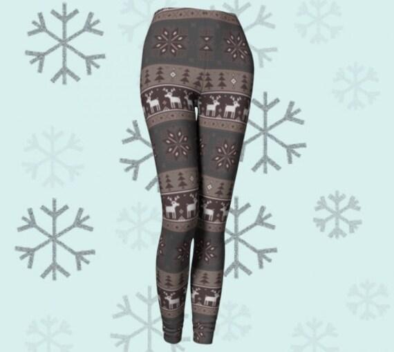 Womens CHRISTMAS Pattern LEGGINGS Christmas Tree Snowflake Reindeer Printed HOLIDAY Leggings Yoga Leggings Christmas Gift for Wife Pants