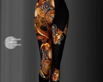 Steampunk Capri LEGGINGS YOGA PANTS for Women Futuristic Clothing Steam Punk Clothing Workout Clothing Running Capri Pants Dance Leggings