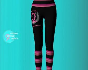 Breast Cancer Pink Ribbon Angel Winged BCAM YOGA LEGGINGS Womens Yoga Pants Pink and Black Yoga Leggings Breast Cancer Awareness Clothing