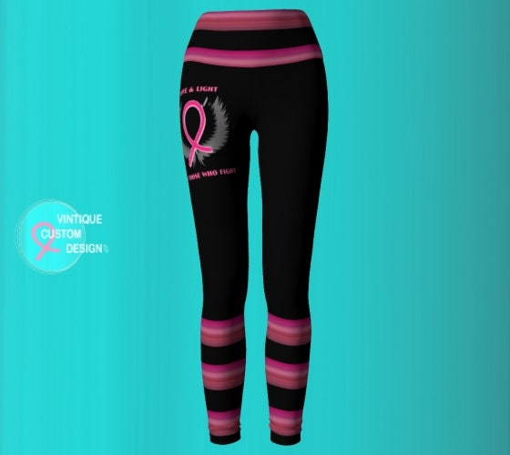 7882311408 Breast Cancer Pink Ribbon Angel Winged BCAM YOGA LEGGINGS Womens Yoga Pants  Pink and Black Yoga Leggings Breast Cancer Awareness Clothing