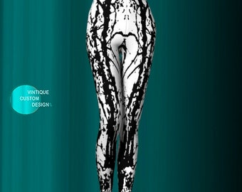 Black and White Womens LEGGINGS YOGA PANTS Tree Leggings Elven Leggings Art Leggings for Women Festival Leggings Designer Fashion Leggings