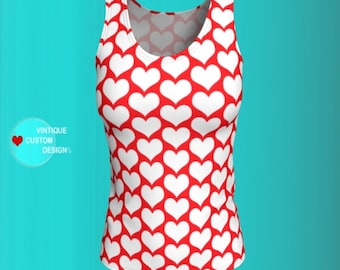 Heart Top Women's Red & White Heart TANK TOP WOMENS Shirt Heart Print Shirt for Women Red and White Top Valentine's Day Tank Top Women's