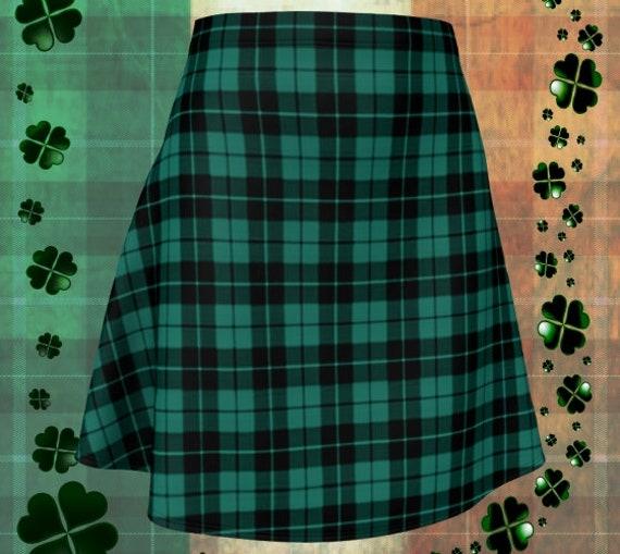 GREEN Tartan PLAID SKIRT Womens Plaid Skirts Tartan Plaid Skirt for Women Green Plaid Flare Skirt Fitted Skirt Plaid Skirt Womens
