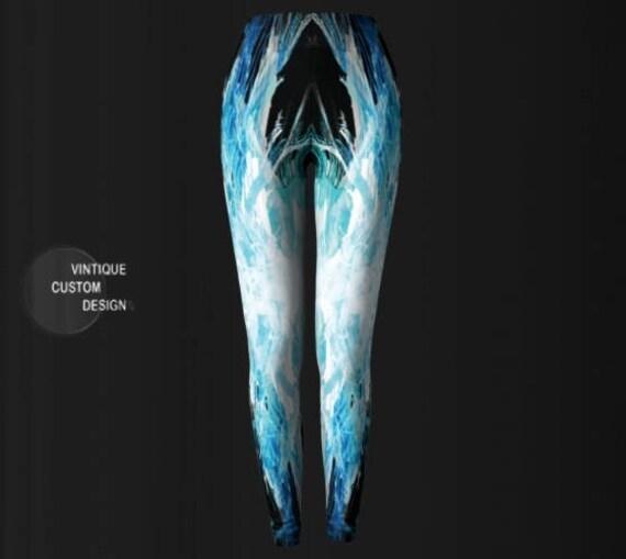 Vapor Blue Leggings Art Printed Fitness Womens White Yoga Leggings YOGA and Leggings Festival LEGGINGS Wave Leggings Clothing PANTS Womens gxw1tPfxq