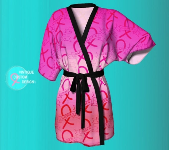 Womens Kimono Robe for Breast Cancer Awareness Pink Ribbon KIMONO PEIGNOIR ROBE Support Gift Survivor Pink and Black Love and Light Robe