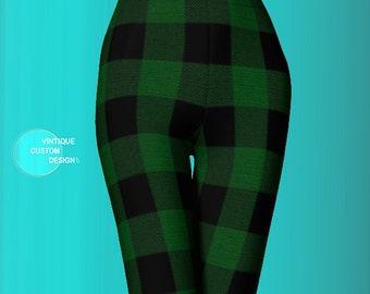 BUFFALO PLAID LEGGINGS Green Black Buffalo Check Plaid Yoga Leggings Womens Plaid Yoga Leggings St. Patricks Day Leggings Green Leggings