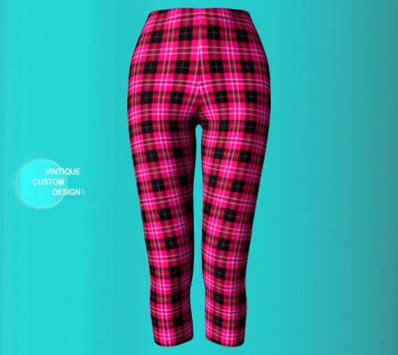 Print Capri Plaid Capri Leggings Leggings Yoga Pink Women Pink and Black PANTS Tartan PLAID for Pants Yoga Leggings CAPRI Plaid Sexy Sexy PpFqZwA