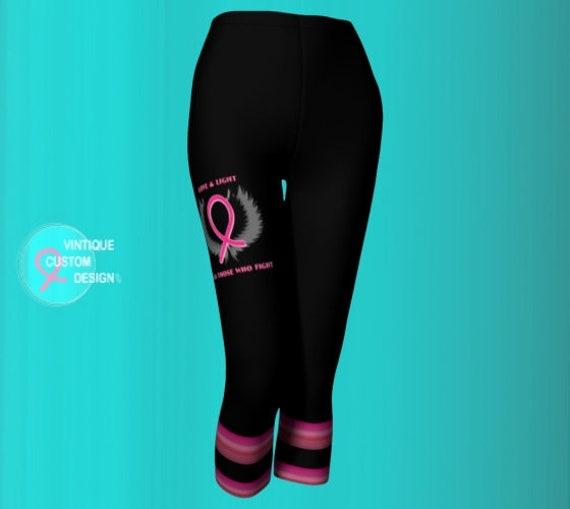 Womens Capri Leggings Pink and Black BCAM Pink Ribbon BREAST CANCER Awareness Month Womens Leggings Capri Leggings Yoga Pants Running Capris