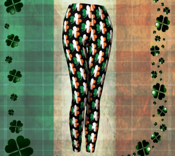 Irish Flag SHAMROCK LEGGINGS Irish Three Leaf CLOVER Printed Leggings for Women St. Patricks Day Leggings St. Pattys Day Yoga Pants Womens