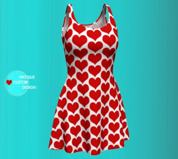 VALENTINES DAY DRESS Heart Dress Red and White Heart Print Dress Women's Party Dress in Bodycon and Fit and Flare Styles Red and White