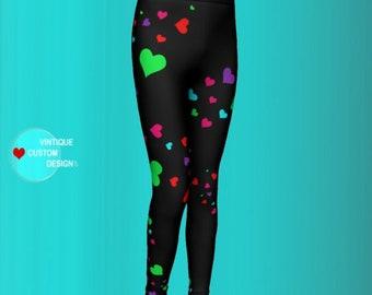 HEART Leggings Rainbow Heart Pants for GIRLS Baby Leggings Toddler Leggings Kids Clothing Girls Heart Pants Matching Outfit Kids Leggings