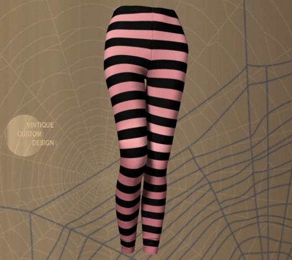 WITCH LEGGINGS Women's Halloween Leggings Pink and Black Striped Leggings Yoga Leggings Women's Yoga Pants Designer Fashion Leggings Cosplay