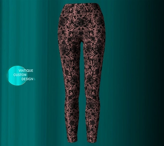 LACE LEGGINGS WOMENS Nude and Black Lace Paisley Print Leggings Yoga Pants for Women Lace Print Sexy Leggings Tribal Tights Tattoo Tights