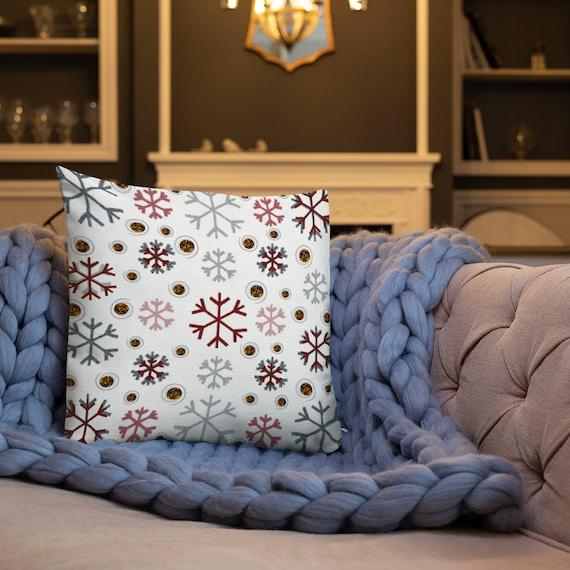 SNOWFLAKE CHRISTMAS PILLOW Throw Pillow Holiday Home Decor Christmas Decor Decorative Holiday Pillow Winter Christmas Throw Pillow Red White