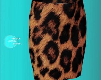 CHEETAH SKIRT WOMENS Cheetah Print Skirt Animal Print Skirt for Women Fitted Skirt Designer Fashion Printed Skirt Mini Skirt Pencil Skirt