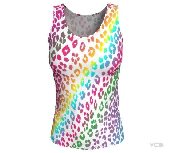 Custom Designed Print Animal Print Leopard Fan Club Leopard Design Cheetah Print Crop Top Rainbow Leopard Print