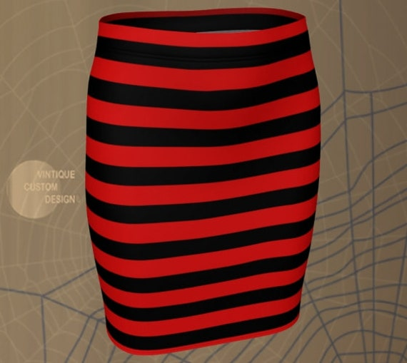 Striped SKIRT HALLOWEEN Skirt Womens Skirt for Halloween Red and Black Skirt Fitted Skirt or Flare Skirt Witch Costume Skirt Freddie Kruger