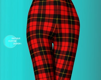 Red TARTAN PLAID LEGGINGS Womens Red Plaid Leggings Yoga Pants Yoga Leggings Womens Leggings Printed Leggings Top Selling Items Gift for Her