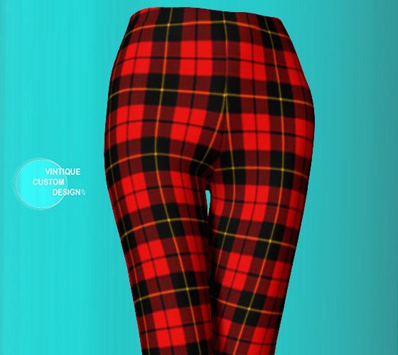 382cb52e0fe3a Red TARTAN PLAID LEGGINGS Womens Red Plaid Leggings Yoga Pants | Etsy